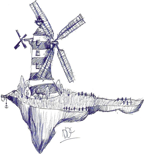 Drawn windmill old By DemonDaysChild Windmill Windmill on