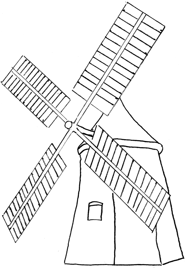 Drawn windmill old Bladed strange A cool based