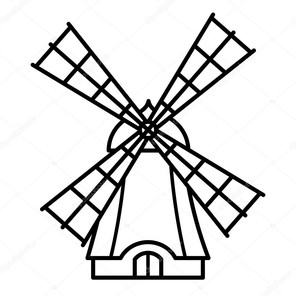 Windmill clipart outline Icon by design kids Stock