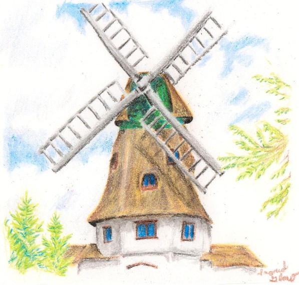 Drawn house crayon Art: Windmill Crayon Windmill Crayon