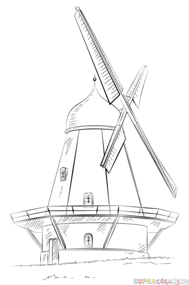 Drawn windmill easy A to a How tutorials