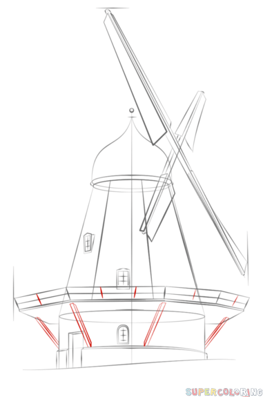 Drawn windmill easy To 8 by a step