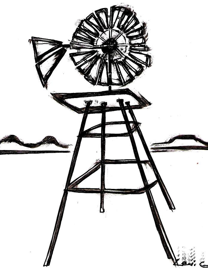Drawn windmill easy Sketch Old Windmill Page Image