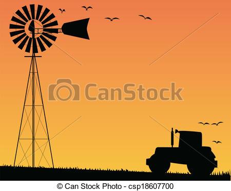 Windmill clipart farm windmill  csp18607700 Farm Sunset and