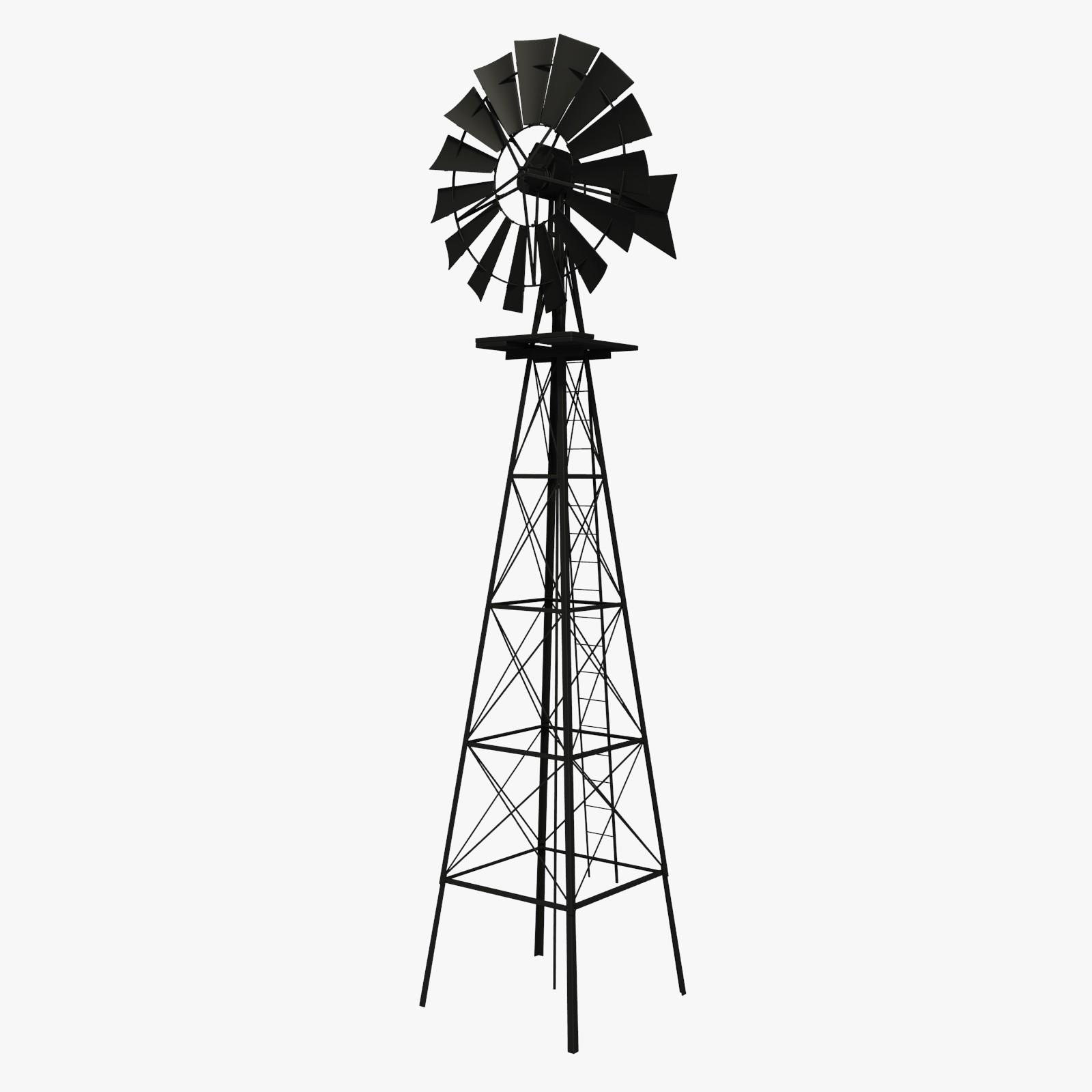 Drawn windmill farm windmill Windmill model metal metal 3d