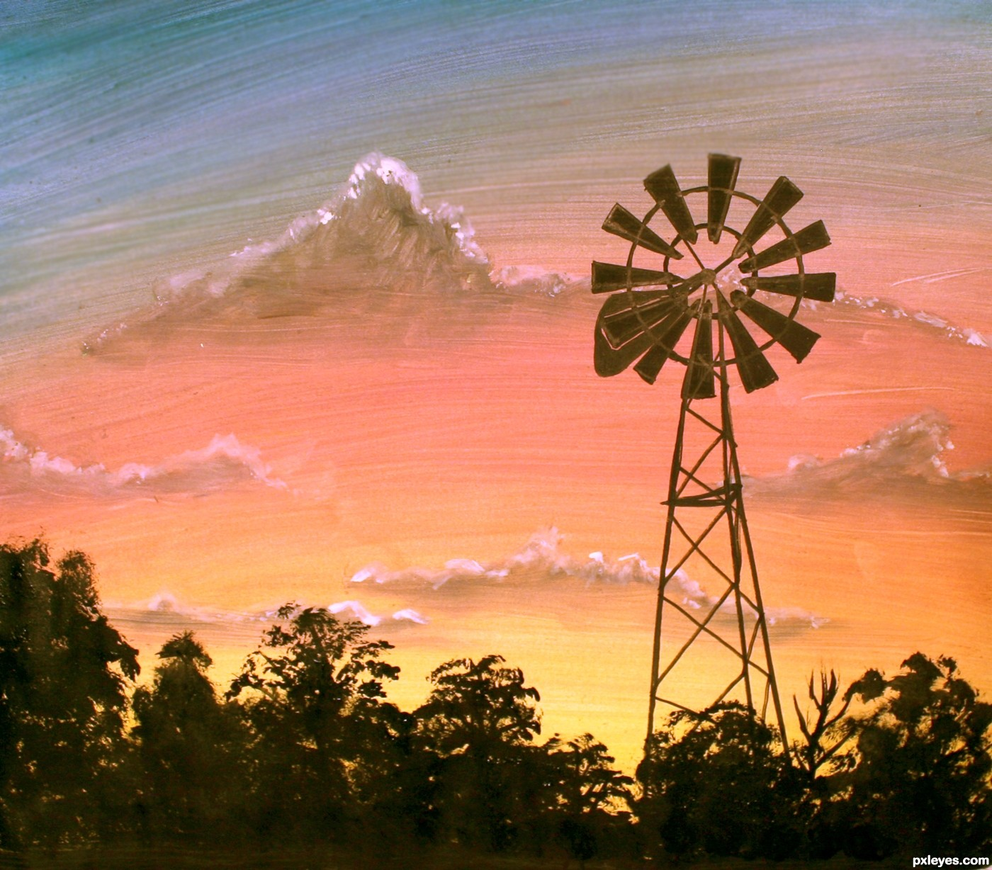 Drawn windmill farm windmill Farm at Sunrise picture windmills