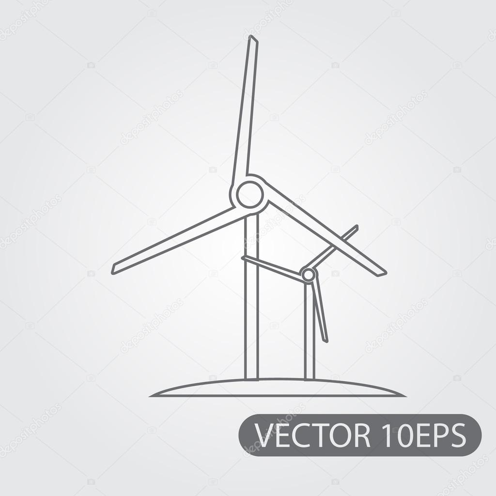 Drawn windmill modern Windmill drawing  outline —