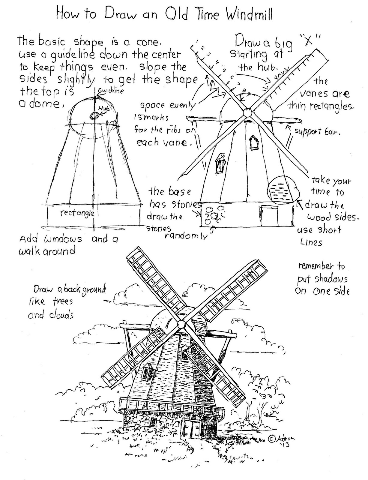 Drawn windmill old Draw to How Artist: Draw