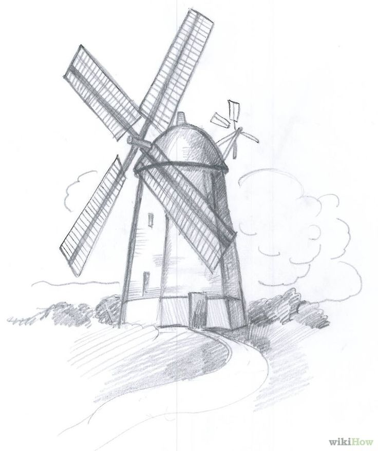 Drawn windmill old 8 about Shading on 1261
