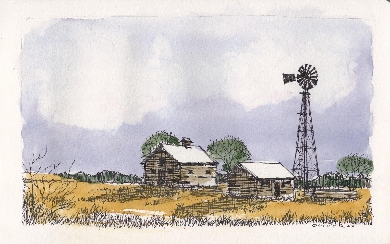 Drawn windmill And Sketchbook: Windmill ink Oliver's