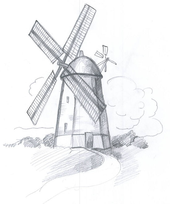 Drawn mill On sketch a best images