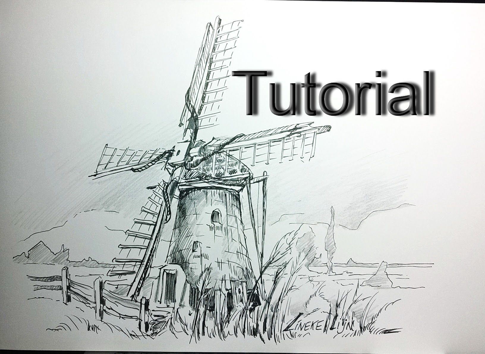 Drawn windmill A for for and beginners