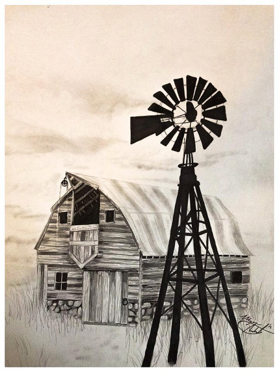 Drawn windmill & by by Art ChicCharcoals
