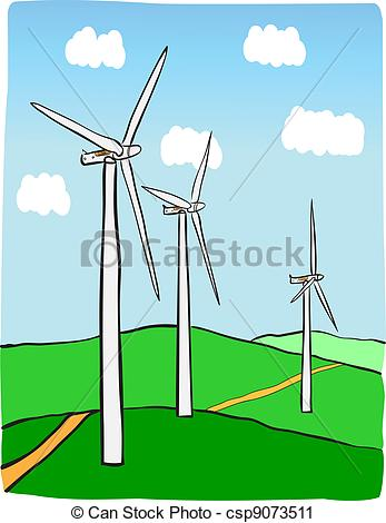 Drawn windmill power plant Illustration power Wind of Hand