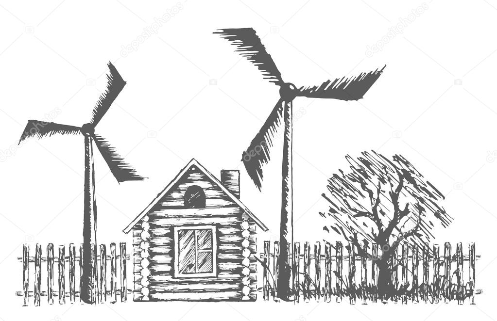 Drawn windmill #105137278 — power with plants