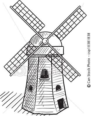 Drawn windmill simple Dutch Clip Dutch Art Windmill