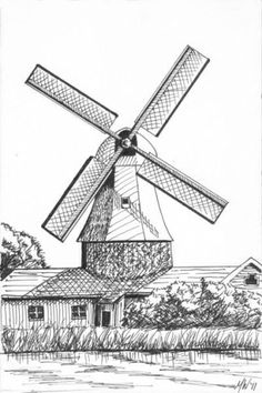 Drawn windmill simple Ink Artist by Mark Adam