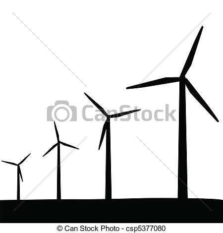 Wind Turbine clipart black and white #1