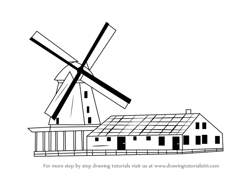 Drawn windmill A How Step Step