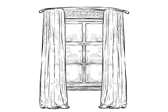 Drawn window Creative Window on Illustrations Hand
