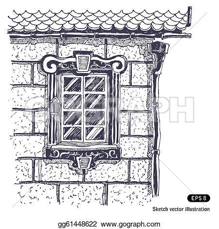 Brick clipart drawn Of drawn window gg61448622 wall