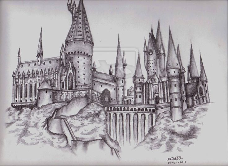 Drawn scenery castle Castle drawing drawing Hledat hogwarts