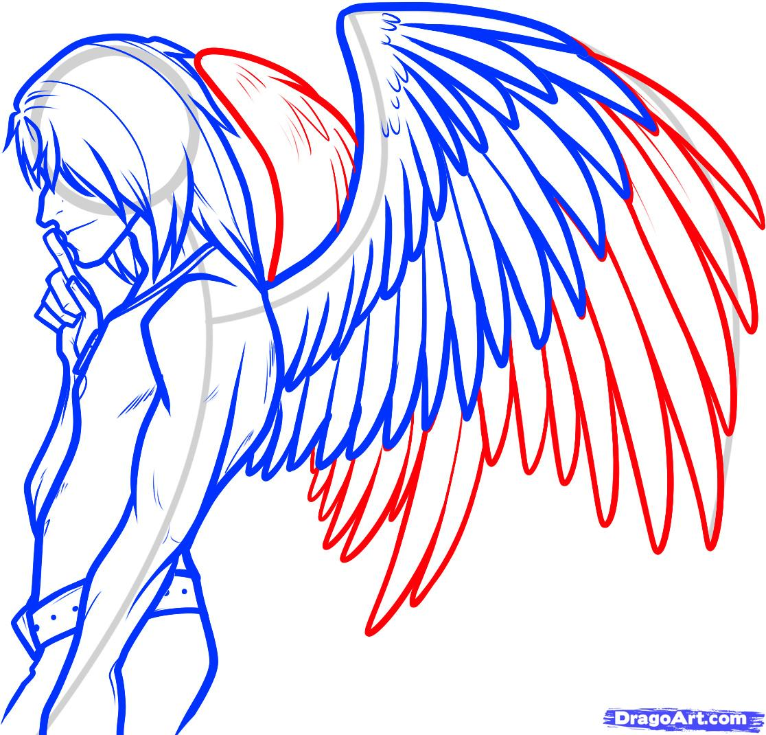 Drawn angel side view #2
