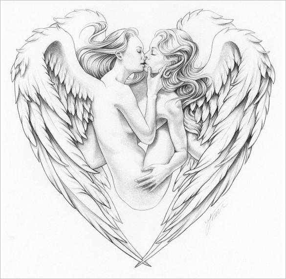 Drawn angel angel wing Free Beautiful Templates Drawings &