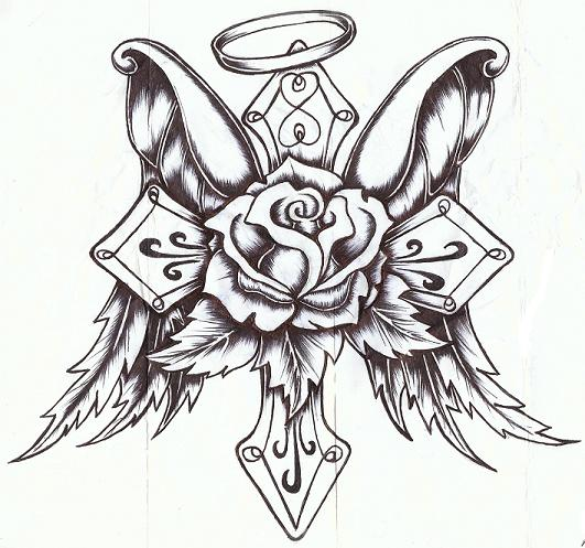 Drawn hearts crosses Rose Wings P P Nuthouse