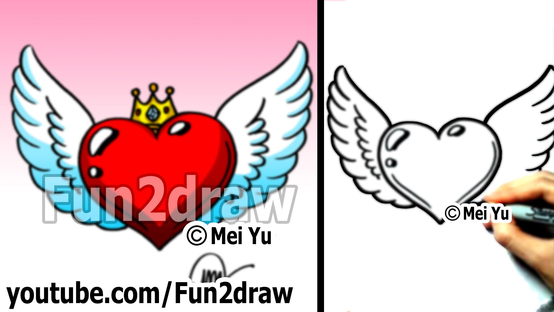Drawn hearts simple art Heart tutorial) Draw to Crown