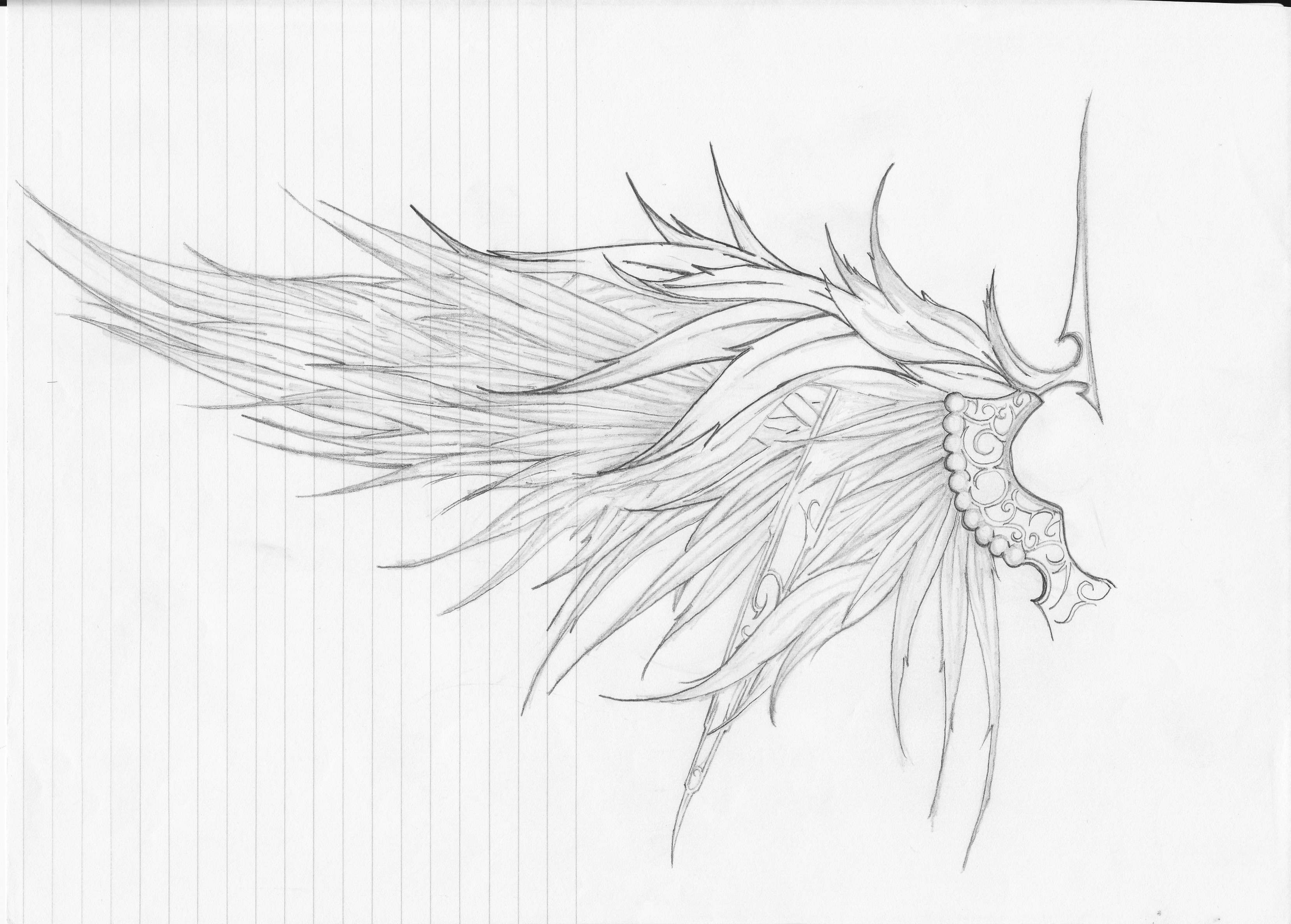Drawn angel side view #3
