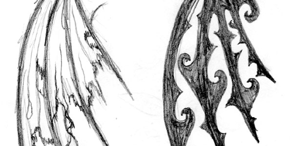 Drawn angel torn wing #1