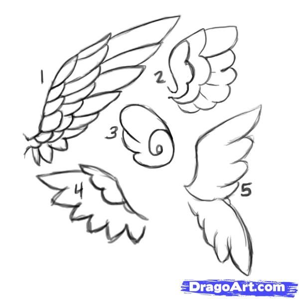Drawn angel simple How draw angel wings ideas