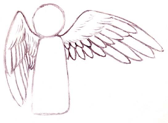 Drawn angel folded wing Tutorials Manga Wings Example