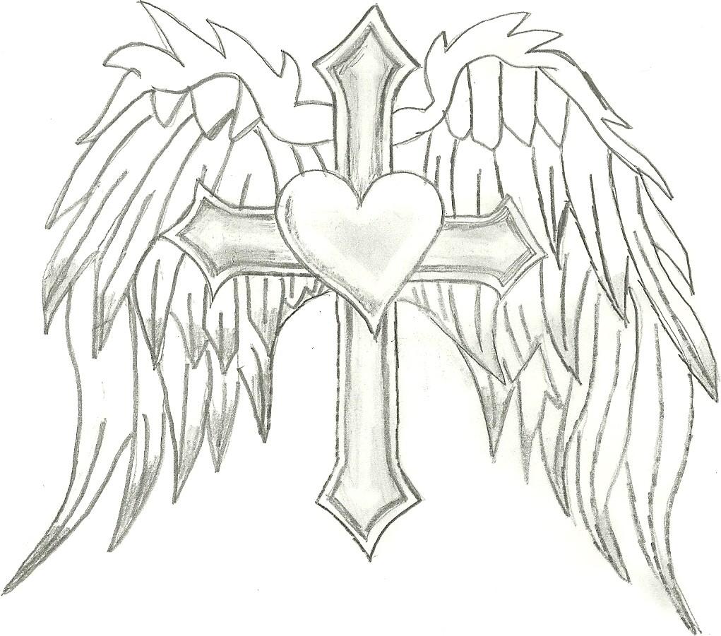 Drawn angel cross Coloring coloring Coloring  hearts