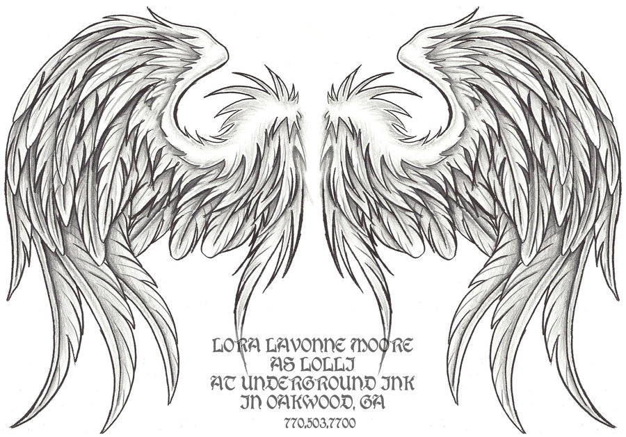 Drawn angel folded wing Shaded folded lavonne shaded wings