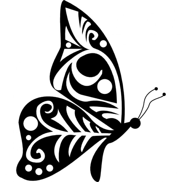 Drawn butterfly side view Butterfly of with Tribal view