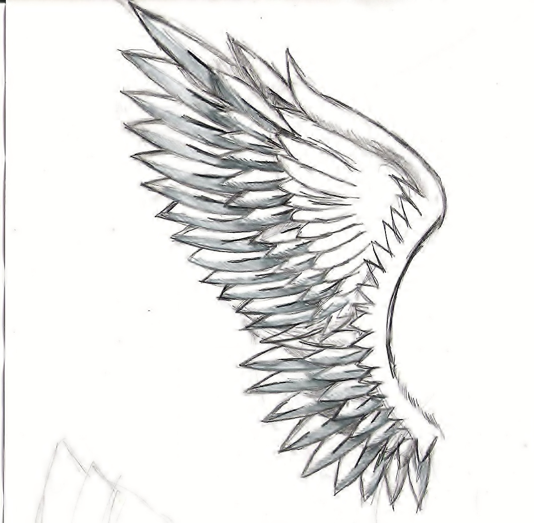 Drawn angel side view #4