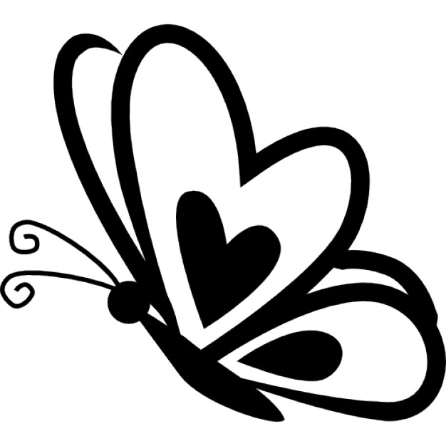Drawn butterfly heart Butterfly side Free with Icon