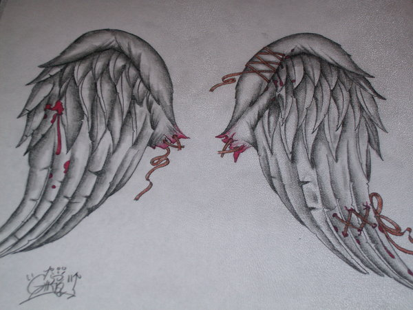 Drawn angel torn wing By tattered angel Angels angel