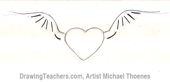 Drawn hearts wing 3 Draw How Wings a