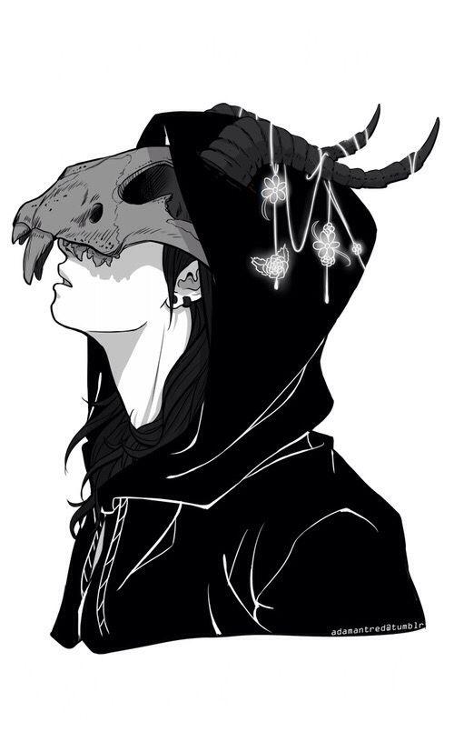 Drawn skull anime On Black Anime white ideas