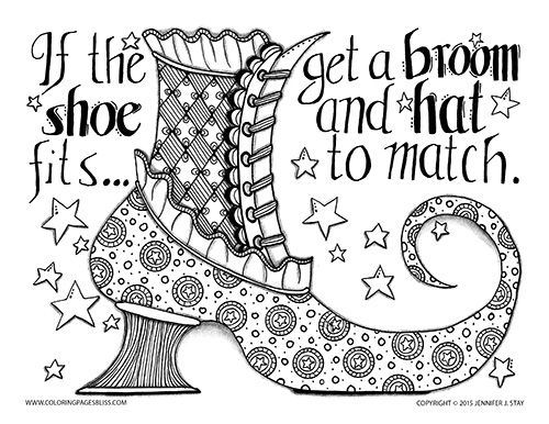 Drawn witchcraft color Phrases on Page Shoe Coloring