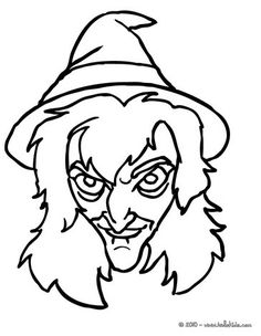 Drawn witchcraft creepy witch Coloring witch face Face
