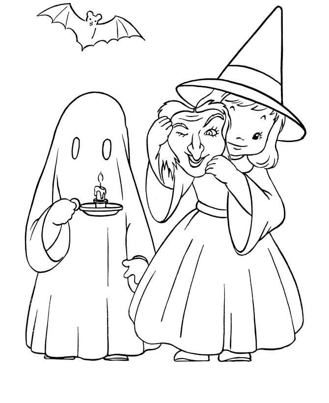 Drawn ghostly halloween coloring Ideas best Ghost and Witch