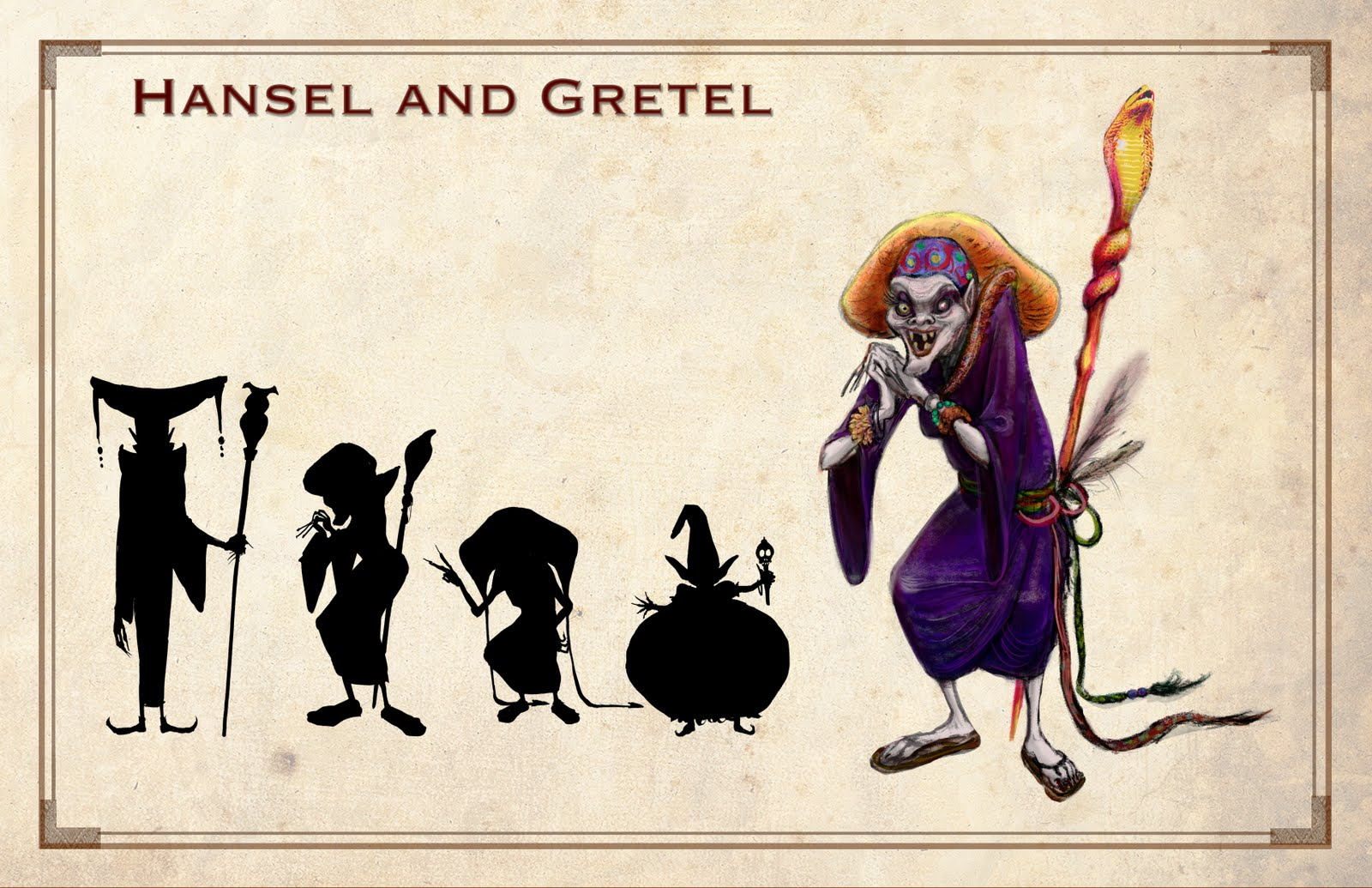 Drawn witchcraft hansel and gretel And project and Gretel the