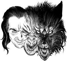 Drawn wolfman De drawing Europese het Werewolf