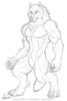 Drawn wolfman buff body Com muscle deviantart anthro on