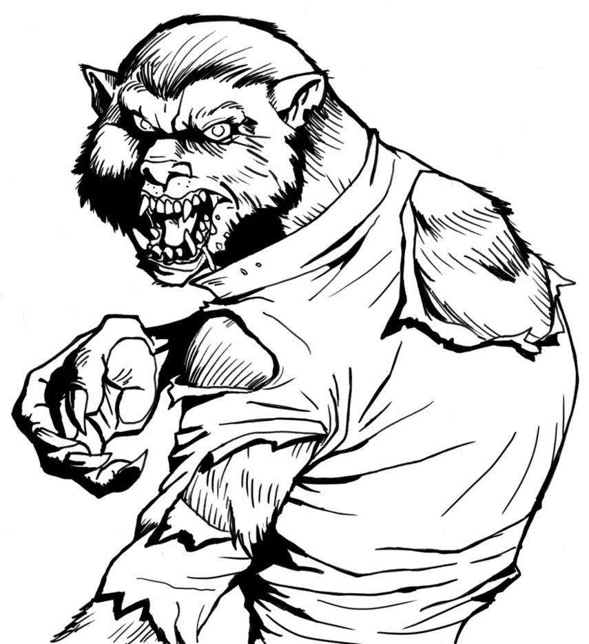 Drawn wolfman coloring page Werewolf Coloring Coloring Kids Werewolf