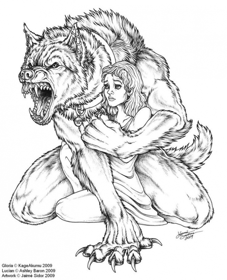 Drawn wolfman coloring page Coloring pages kidnapping Werewolf kidnapping
